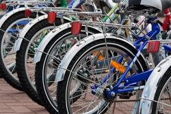 Closeup of bicycle wheels