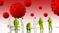 closeup of big corona virus with a team of special medical forces miniature figurines interfering during gas and other chemical accidents, the team preparing for diagnosis and action against virus