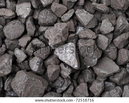 Closeup of black coal lumps