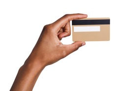 Closeup of black female hand holding plastic credit card , woman showing blank business card on white isolated studio background, copy space, cutout