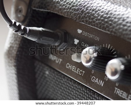 Closeup of black old amp for electric guitar