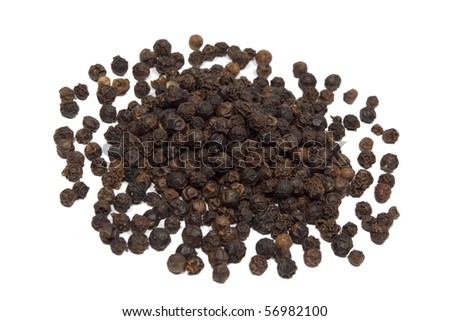 Closeup of black pepper isolated on white background.