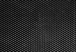 Closeup of Black, Textured Mesh Fire-Heat Guard With Black Background Behind