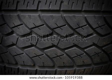 Closeup of black tire texture