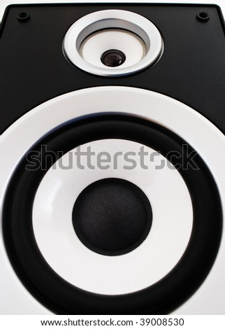 closeup of black two way audio speaker