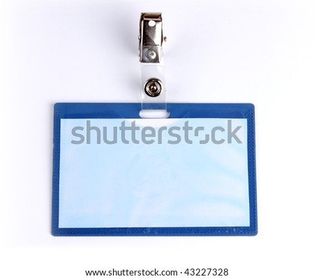 Closeup of Blank badge/ ID card on white background