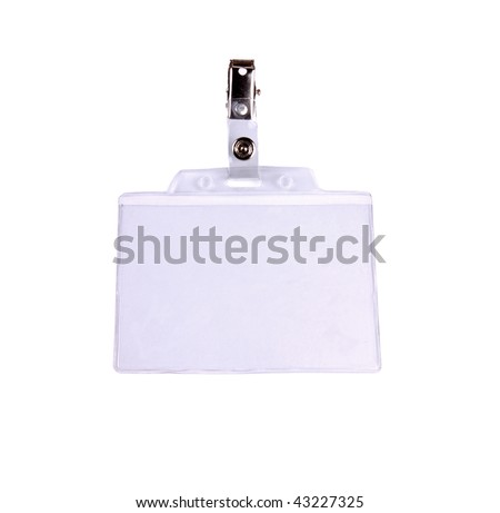 Closeup of Blank badge/ ID card on white background with clipping path