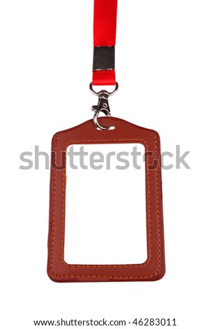 Closeup of Blank badge/ ID card with red lanyard on white background