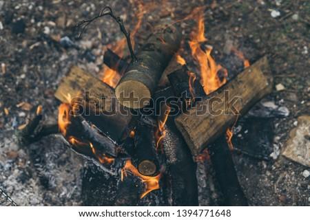 Closeup of blazing campfire coals #1394771648