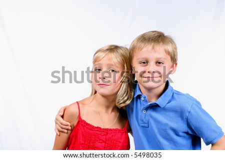 closeup of blond boy and girl