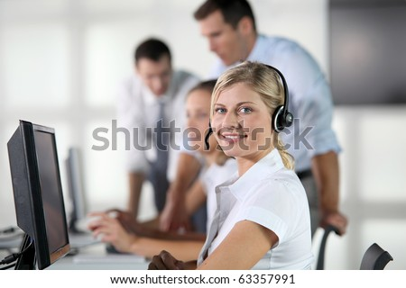 Closeup of blond woman with headphones