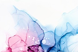Closeup of blue and pink alcohol ink abstract texture, trendy wallpaper. Art for design project as background for invitation or greeting cards, flyer, poster, presentation, wrapping paper
