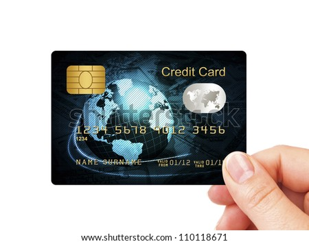 closeup of blue credit card holded by hand over white background