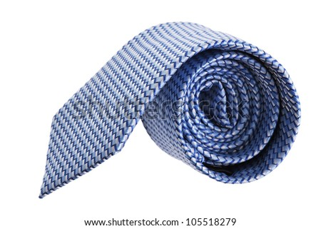 closeup of blue tie on spiral, isolated on white background