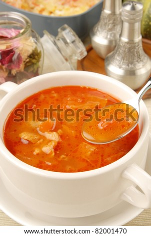 Closeup of borsch, russian national red soup