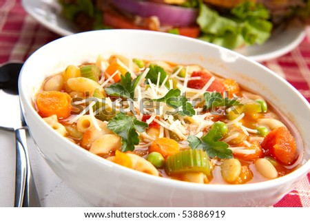Closeup of bowl of hot fresh Minestrone soup