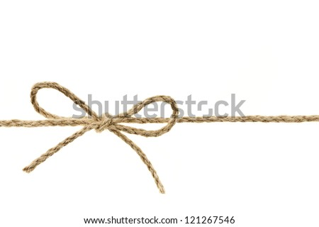 Closeup of braided twine tied in a bow knot isolated on white background