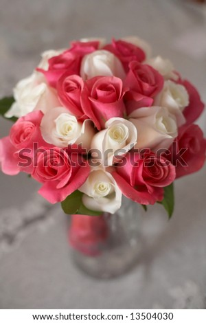 stock photo Closeup of bridal wedding bouquet of pink and white roses