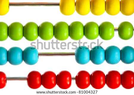 Closeup of bright  abacus beads on white background