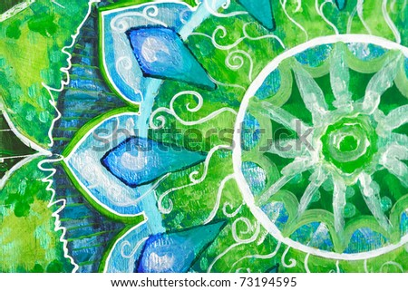 closeup of bright green painted picture with circle pattern, mandala of anahata chakra - stock photo