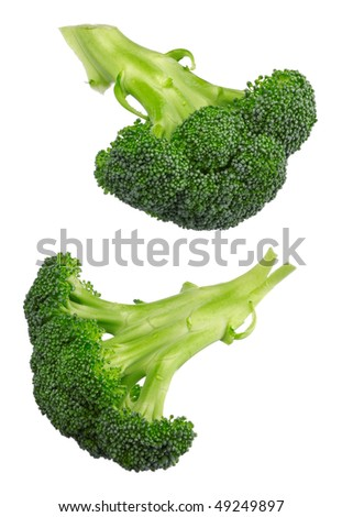 Closeup of broccoli isolated on white background