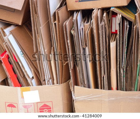 Closeup of broken cardboard boxes waiting to be recycled