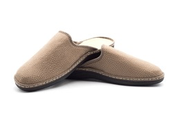 Closeup of brown sleepers for men  on white background
