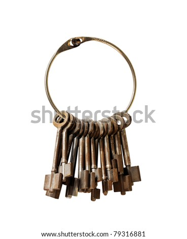Closeup of bunch of Antique keys on a big keyring.isolated on white with Clipping Path