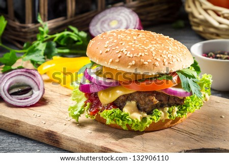 Closeup of burger made �¢??�¢??f rom vegetables - stock photo