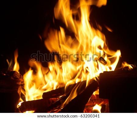 Closeup of burning fire wood