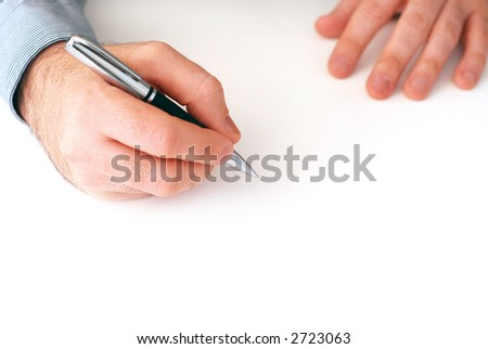 Closeup of businessman's hands on white background holding a pen