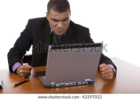 Closeup of businessman which is stressed, because of a computer problem. Isolated on white.