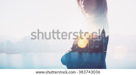 Closeup of businesswoman. Double exposure, city and bay on the background. Blurred background, horizontal