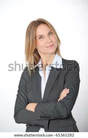 Closeup of businesswoman on white background #65365282