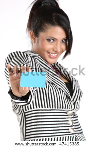 Closeup of businesswoman with blue credit card