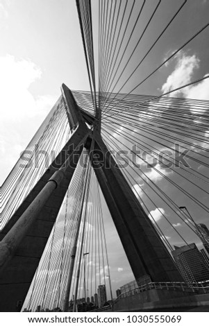 Closeup of cable stayed bridge, view from below. Marginal Pinheiros, Sao Paulo, Brazil #1030555069