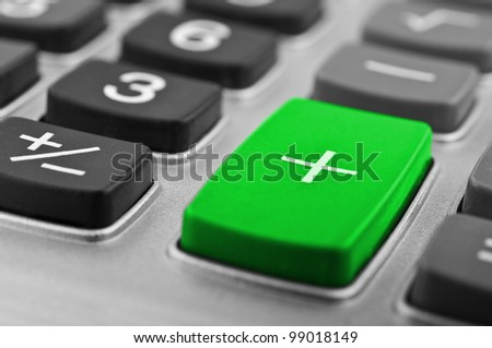 closeup of calculator button on a background