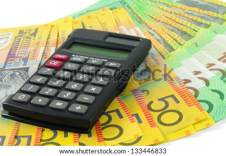 closeup of calculator with australian money