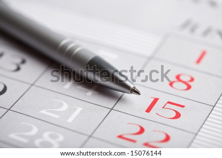 closeup of calendar page
