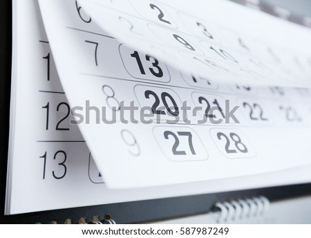Closeup of calendar page #587987249