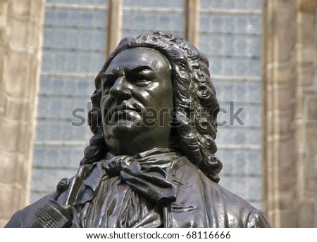 Closeup of Carl Seffner's 1908 statue of J.S. Bach in front of St. Thomas Church, Leipzig, Germany
