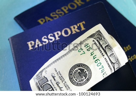 closeup of cash and U.S. passports