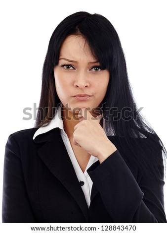 Closeup of caucasian businesswoman looking distrustful at camera. Isolated on white background. Business concept