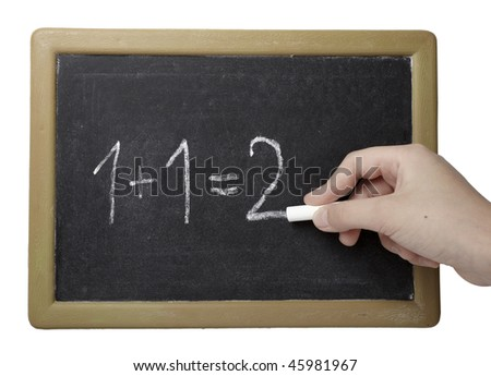 closeup of chalkboard and simple math addition on white background with clipping path