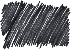 closeup of chaotic permanent dark black marker doodles hatch pattern texture brush on white background