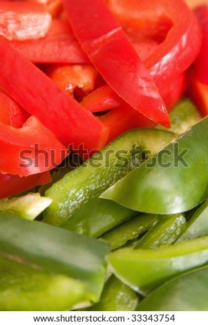 Closeup of chopped red and green peppers