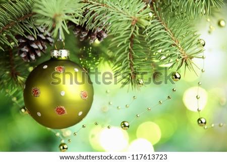 Closeup of Christmas ball from Christmas tree.