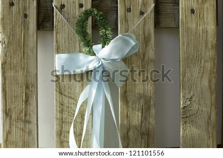 Closeup of Christmas decoration: balls and ribbons