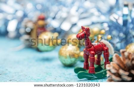 Closeup of christmas decoration. Christmas decorations on the Christmas tree. closeup of New Year's toys. Santa Claus.