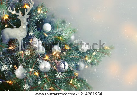 Closeup of Christmas-tree background #1214281954